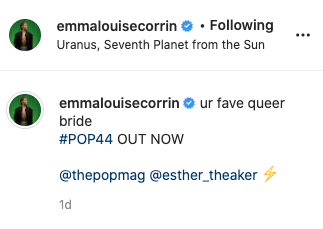 The Crown's Emma Corrin has called herself a 'queer bride' on Instagram. Photo: Instagram/emmalouisecorrin.