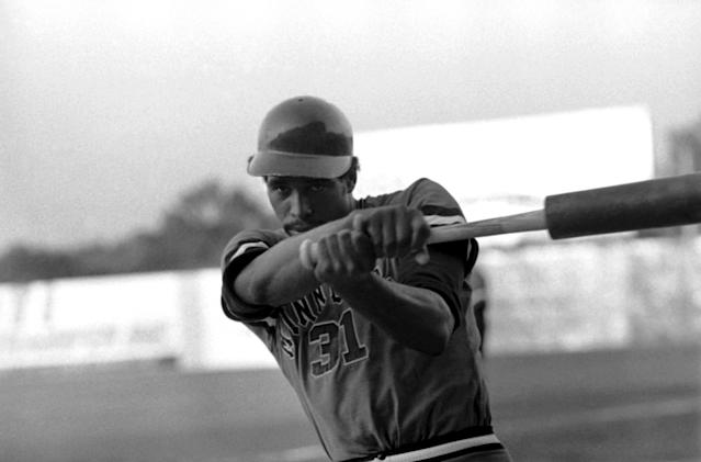 David Winfield, pitcher-left fielder for Minnesota, before the College World Series in 1973. (AP)