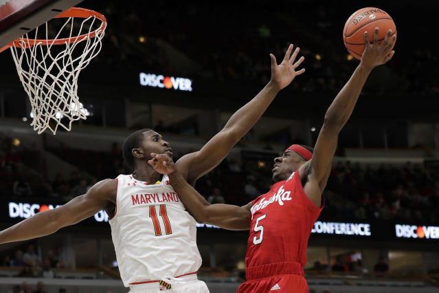 Nebraska's Glynn Watson Jr. (5) shoots against Maryland's Darryl Morsell (11) during the first half of an NCAA college basketball game in the second round of the Big Ten Conference tournament, Thursday, March 14, 2019, in Chicago. (AP Photo/Nam Y. Huh)