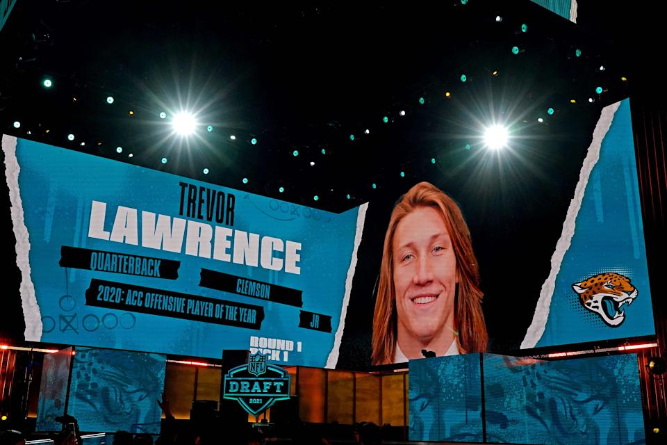NFL commissioner Roger Goodell announces Trevor Lawrence (Clemson) being selected by the Jacksonville Jaguars as the number one overall pick in the first round of the 2021 NFL Draft at First Energy Stadium,
