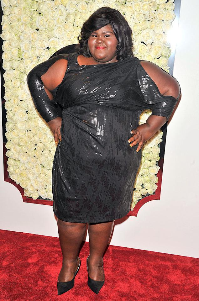 "BEVERLY HILLS, CA - FEBRUARY 23:  Gabourey Sidibe attends the QVC's""Buzz On The Red Carpet"" Cocktail Party at Four Seasons Hotel Los Angeles at Beverly Hills on February 23, 2012 in Beverly Hills, California.  (Photo by George Pimentel/WireImage)"