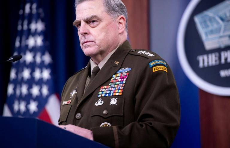US Army General Mark Milley, Chairman of the Joint Chiefs of Staff, tells reporters about the pain felt as the Afghanistan war ended and tough choices were made (AFP/SAUL LOEB)