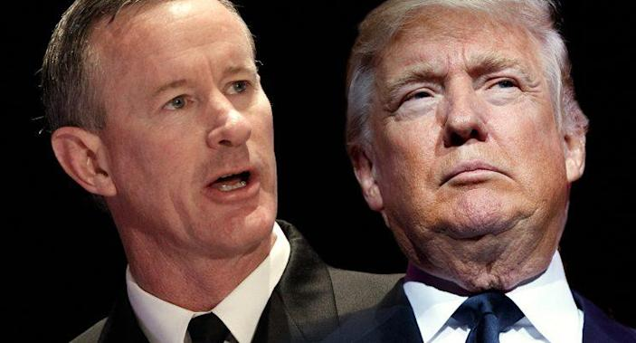 Former Navy Adm. William McRaven, left, shown in this Feb. 7, 2012, file photo, and President Trump.<br>(Photos: Charles Dharapak/AP, Evan Vucci/AP)