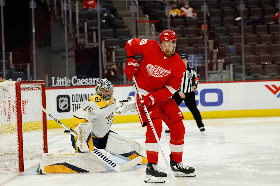 Nashville Predators goaltender Pekka Rinne (35) makes the save on Detroit Red Wings right wing Anthony Mantha (39) in the second period at Little Caesars Arena.