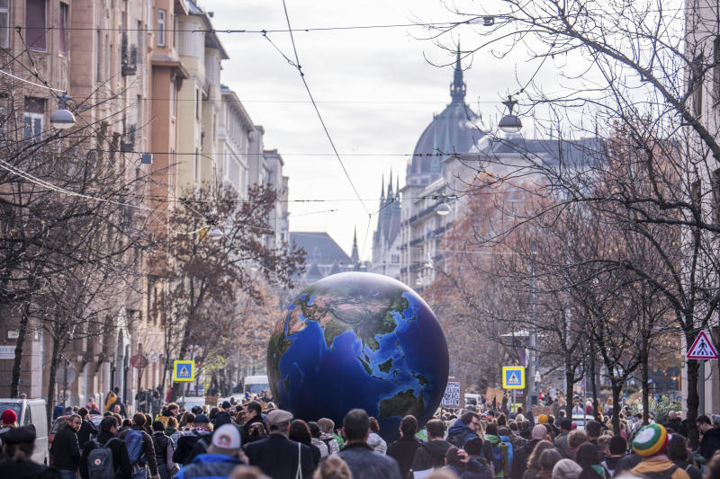 Following the call of Fridays For Future Hungary and Extinction Rebellion Hungary young environmentalists demonstrate to demand measures against climate change in Budapest, Hungary, Friday, Nov. 29, 2019. (Zoltan Balogh/MTI via AP)
