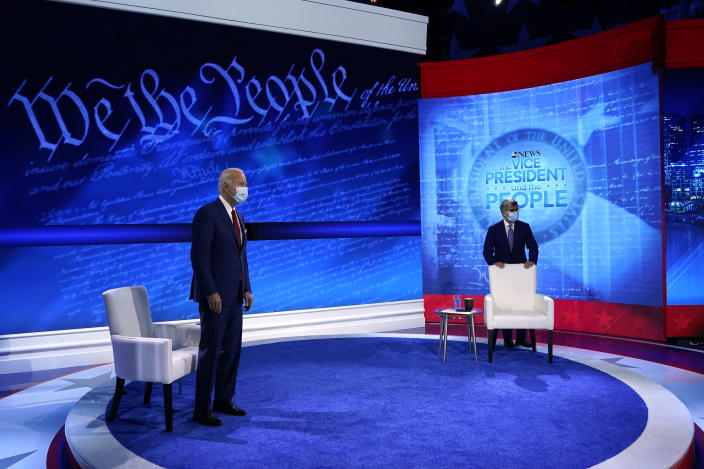 Democratic presidential candidate former Vice President Joe Biden arrives to participate in a town hall with moderator ABC News anchor George Stephanopoulos at the National Constitution Center in Philadelphia, Thursday, Oct. 15, 2020. (AP Photo/Carolyn Kaster)