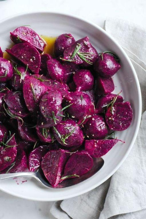 """<p>These beautiful root veggies easily made in the Instant Pot are the perfect earthy side to roast turkey.</p><p><em><a href=""""https://www.goodhousekeeping.com/food-recipes/a28818908/marinated-beets-recipe/"""" rel=""""nofollow noopener"""" target=""""_blank"""" data-ylk=""""slk:Get the recipe for Marinated Beets »"""" class=""""link rapid-noclick-resp"""">Get the recipe for Marinated Beets »</a></em></p>"""