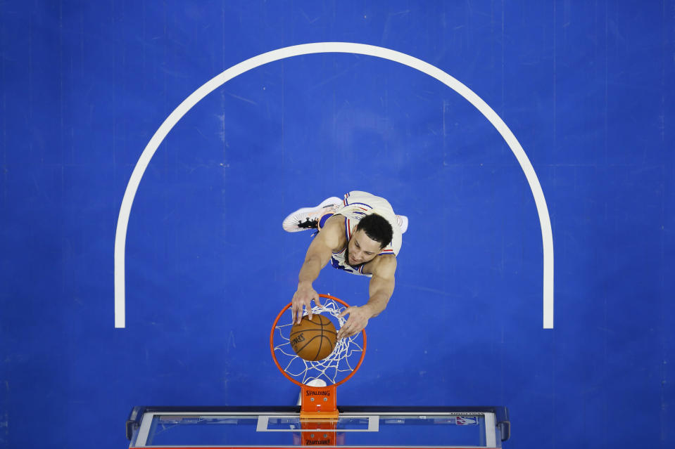 Philadelphia 76ers' Ben Simmons goes up for a dunk during the first half of an NBA basketball game against the Brooklyn Nets, Wednesday, April 14, 2021, in Philadelphia. (AP Photo/Matt Slocum)