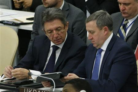 Ukraine's acting Minister of Foreign Affairs Andrii Deshchytsia (R) speaks with Ukraine's U.N. Ambassador Yuriy Sergeyev before the vote count of a draft resolution on the territorial integrity of the Ukraine at the U.N. headquarters in New York March 27, 2014. REUTERS/Eduardo Munoz