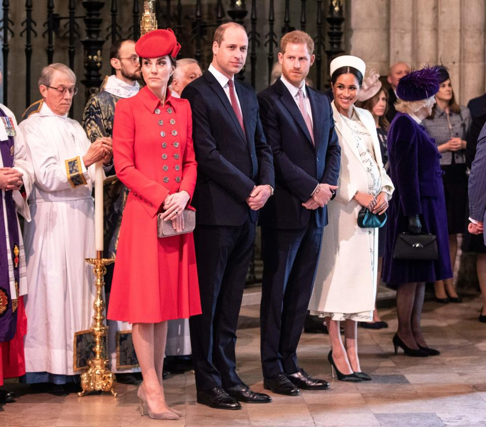 Britain's Catherine, Duchess of Cambridge, Britain's Prince William, Duke of Cambridge, Britain's Prince Harry, Duke of Sussex, and Britain's Meghan, Duchess of Sussex attend the Commonwealth Day service at Westminster Abbey in London on March 11, 2019. - Britain's Queen Elizabeth II has been the Head of the Commonwealth throughout her reign. Organised by the Royal Commonwealth Society, the Service is the largest annual inter-faith gathering in the United Kingdom.