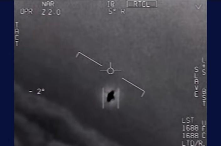 The US Department of Defense released a video earlier this year of unidentified aerial phenomena. (Screen shot from video via US Department of Defense.)