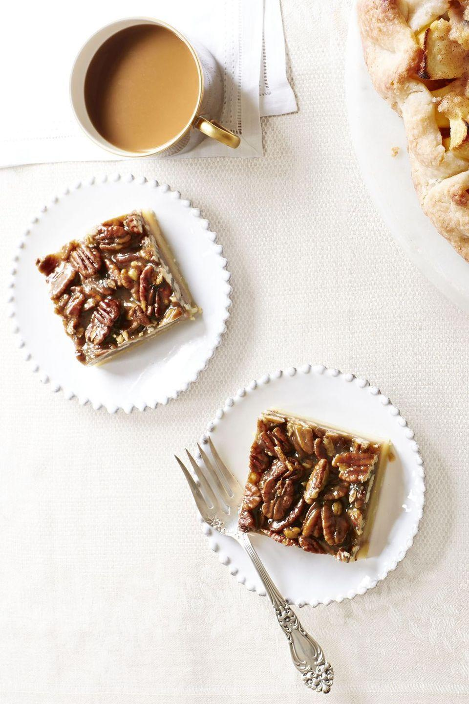 "<p>Here's a grab-and-go dessert option, in case you're hoping to give your guests the hint to leave early. (This is a judgement-free zone!)</p><p><em><a href=""https://www.goodhousekeeping.com/food-recipes/a14469/pecan-squares-recipe-ghk1113/"" rel=""nofollow noopener"" target=""_blank"" data-ylk=""slk:Get the recipe for Pecan Squares »"" class=""link rapid-noclick-resp"">Get the recipe for Pecan Squares »</a></em></p>"