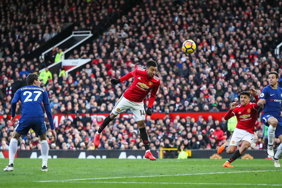 Jesse Lingard heads in Manchester United's second goal against Chelsea on Sunday. (Getty)