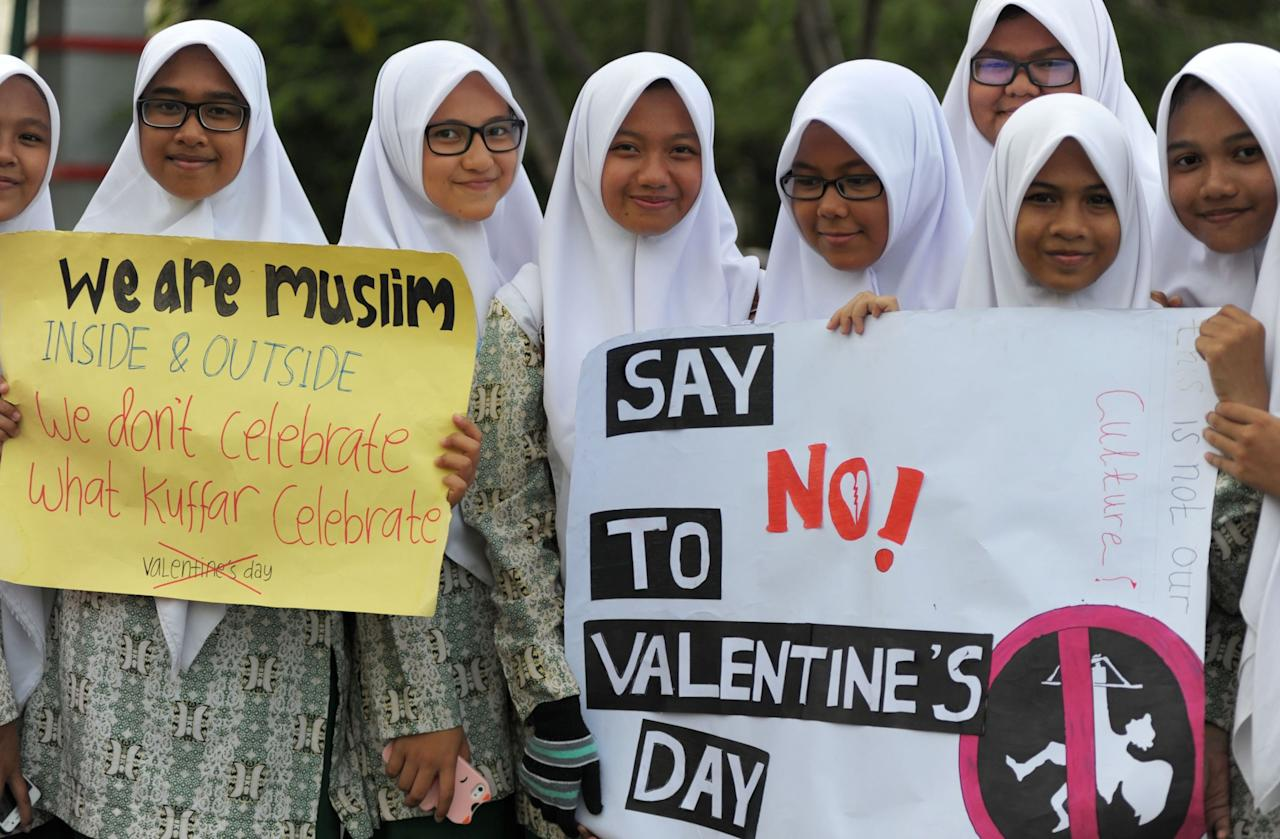 <p>Indonesia's highest Islamic clerical council declared Valentine's Day forbidden by Islamic law in 2012, saying it was contradictory to Muslim culture and teachings. But the vast majority of Indonesia's more than 220 million Muslims follow a moderate form of Islam in a country with sizeable Christian and Hindu minorities. </p>