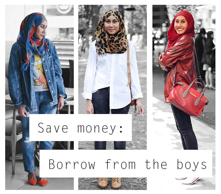 <p>Save money on new clothes shopping by borrowing from your partner's wardrobe. </p>