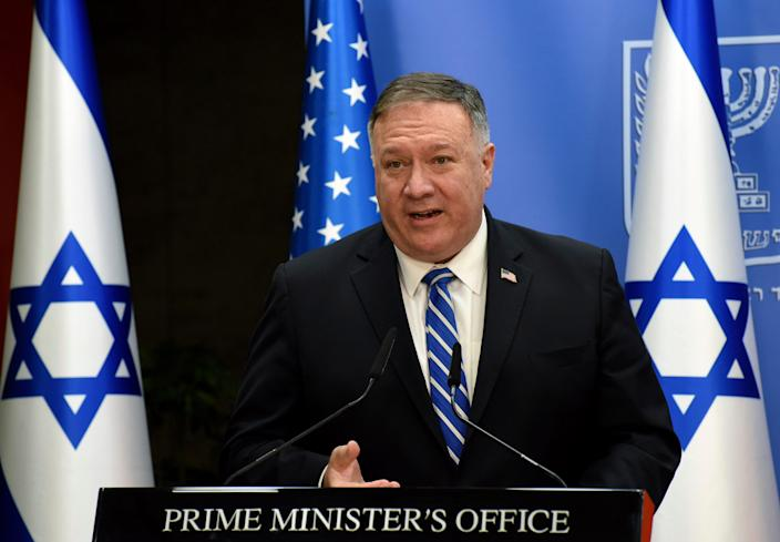 U.S. Secretary of State Mike Pompeo and Israeli Prime Minister Benjamin Netanyahu make joint statements to the press after their meeting, in Jerusalem, Monday, Aug. 24, 2020.