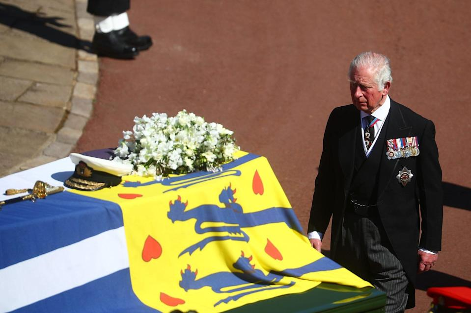 The Funeral Of Prince Philip, Duke Of Edinburgh Is Held In Windsor Prince Charles and Coffin
