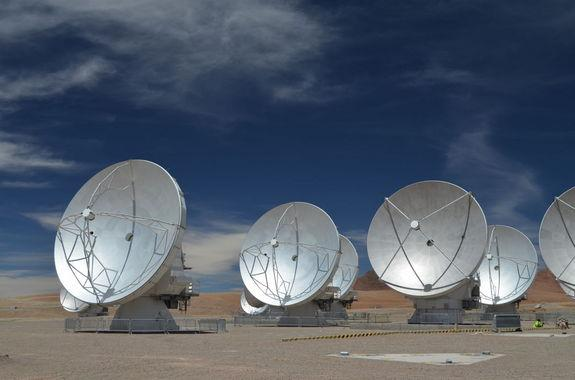 ALMA's giant white antennas are made of steel and carbon fiber reinforced plastic, enabling them to be strong, yet light enough not to deform under their own weight.