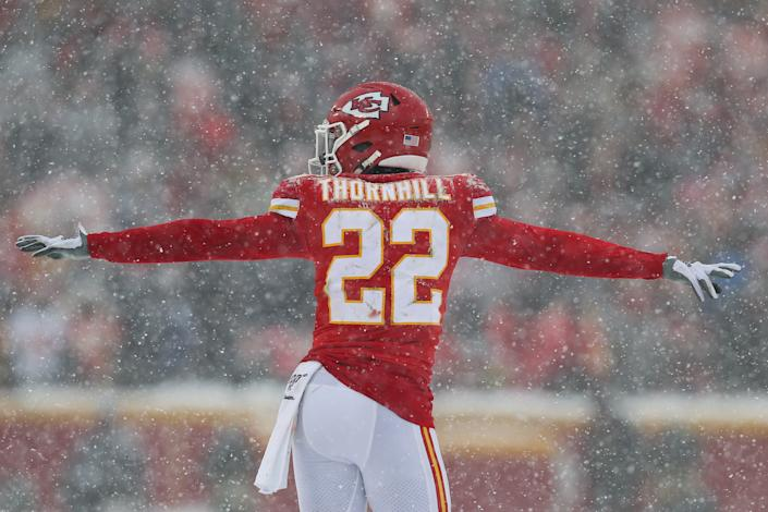 The Chiefs lost rookie safety Juan Thornhill for the remainder of the season after he suffered a torn ACL on Sunday. (Scott Winters/Icon Sportswire)