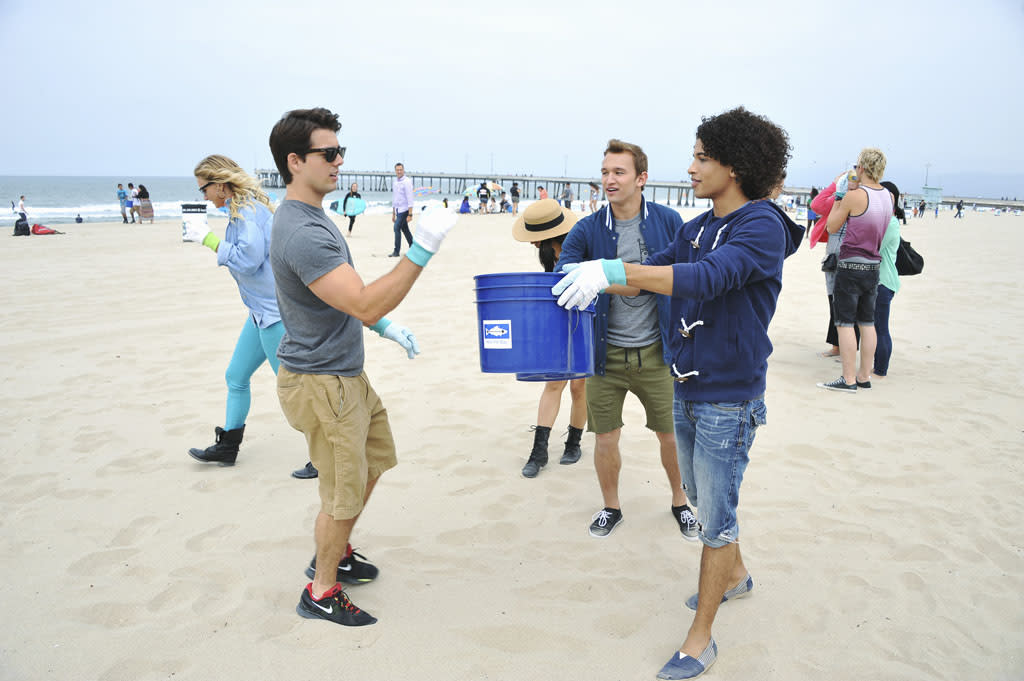 """The cast of the highly anticipated Disney Channel Original Movie """"Teen Beach Movie"""" kick off their summer by joining Heal the Bay for a """"Nothin' But Sand"""" beach cleanup at Venice Beach, California on June 15, 2013."""