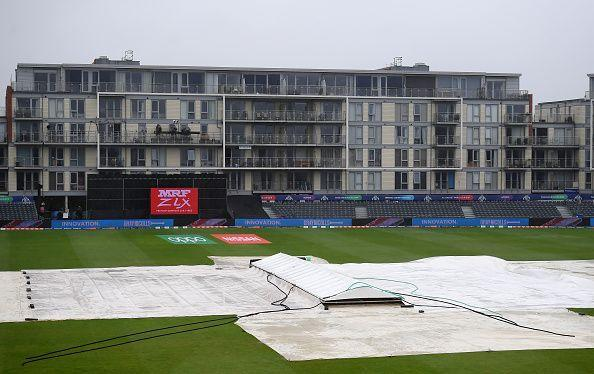 Covers are laid out at Bristol, the venue of the World Cup game between Sri Lanka and Bangladesh.