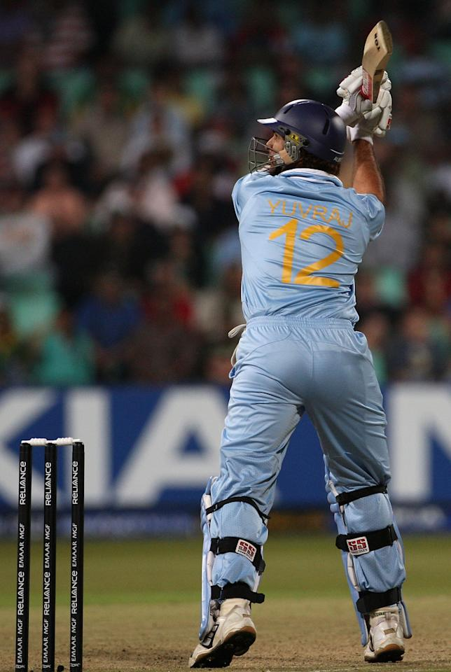 DURBAN, SOUTH AFRICA - SEPTEMBER 19:  Yuvraj Singh of India hits a six during one over from Stuart Broad of England in which he hit six consecutive sixes to reach his half century in a record 12 balls during the ICC Twenty20 Cricket World Championship Super Eights match between England and India at Kingsmead on September 19, 2007 in Durban, South Africa.  (Photo by Hamish Blair/Getty Images)