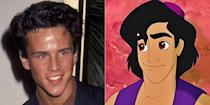 """<p>The riffraff/street rat/scoundrel was voiced by Scott Weinger, who<em> Full House</em> aficionados will remember as D.J.'s beau, Steve. For the 1992 film's 25th anniversary, Weinger tagged Linda Larkin (the voice of Jasmine) in a <a href=""""https://www.instagram.com/p/Bb7ZM6sgoJE/?taken-by=scottweinger"""" rel=""""nofollow noopener"""" target=""""_blank"""" data-ylk=""""slk:sweet Instagram post"""" class=""""link rapid-noclick-resp"""">sweet Instagram post</a>, writing, """"Can you believe <a href=""""https://www.instagram.com/explore/tags/aladdin/"""" rel=""""nofollow noopener"""" target=""""_blank"""" data-ylk=""""slk:#Aladdin"""" class=""""link rapid-noclick-resp"""">#Aladdin</a> was released 25 years ago today? I'd lie to you about being a prince just to fly you around the world on a Magic Carpet all over again.""""</p>"""