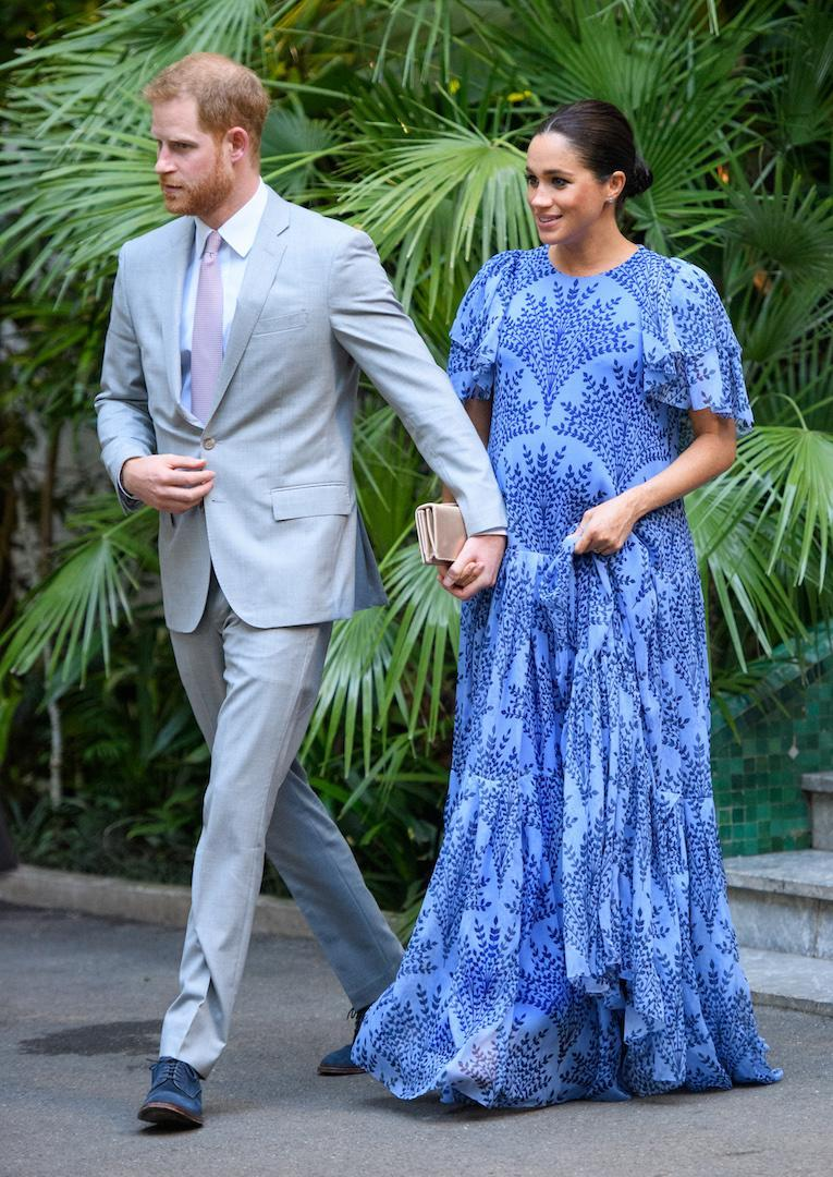 The Duchess of Sussex chose a bespoke floral Carolina Herrera gown accessorised with a Dior 'Bee' clutch to meet King Mohammed VI of Morocco on the final day of their tour. [Photo: Getty]