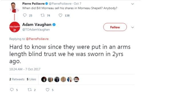 Liberal MP Adam Vaughan incorrectly tweeted that the minister's investments had been placed in a blind trust.