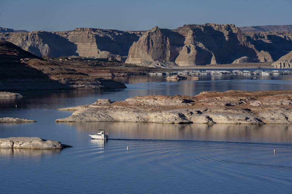 Lake Powell, the second-largest reservoir on the Colorado River, is about to hit the lowest water level since it was filled in 1963.