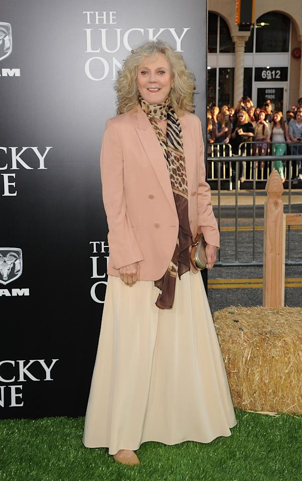 HOLLYWOOD, CA - APRIL 16:  Actress Blythe Danner arrives at the premiere of Warner Bros. Pictures' 'The Lucky One' held at Grauman's Chinese Theatre on April 16, 2012 in Hollywood, California.  (Photo by Jason Merritt/Getty Images)