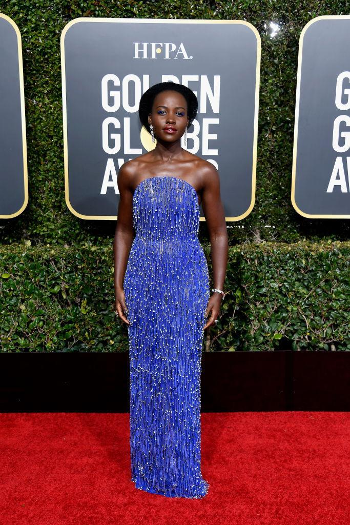 <p>Lupita Nyong'o attends the 76th Annual Golden Globe Awards at the Beverly Hilton Hotel in Beverly Hills, Calif., on Jan. 6, 2019. (Photo: Getty Images) </p>