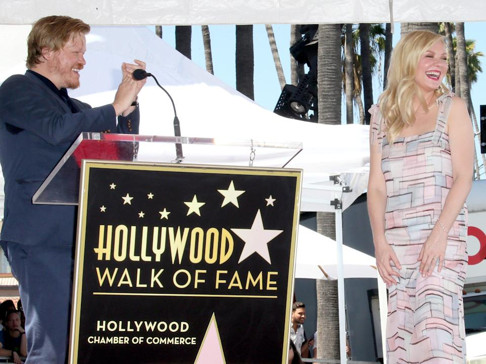 Jesse Plemons and Kirsten Dunst attend the ceremony honoring Kirsten Dunst with a star on the Hollywood Walk of Fame on August 29, 2019 in Hollywood, California.