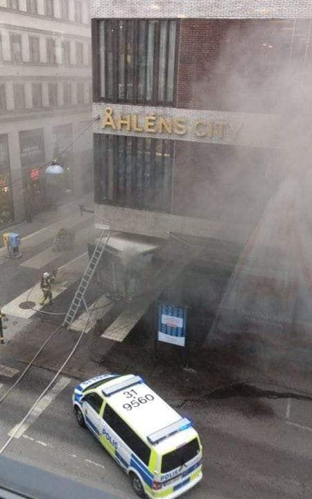 A view of the site where a truck drove into a crowd and into a department store in central Stockholm - Credit: Reuters