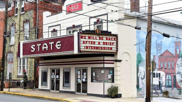 PHOTO: At the State Movie Theatre in Boyertown, Pa., Jan. 4, 2021, where they have a message on the marquee that reads 'We will be back after a brief intermission.' (Ben Hasty/MediaNews Group/Reading Eagle via Getty Images)
