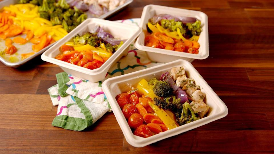 "<p>Finally, a strategy that makes meal prep not suck.</p><p>Get the recipe from <a href=""/cooking/recipe-ideas/recipes/a51204/rainbow-chicken-veggies-recipe/"" data-ylk=""slk:Delish"" class=""link rapid-noclick-resp"">Delish</a>.</p>"