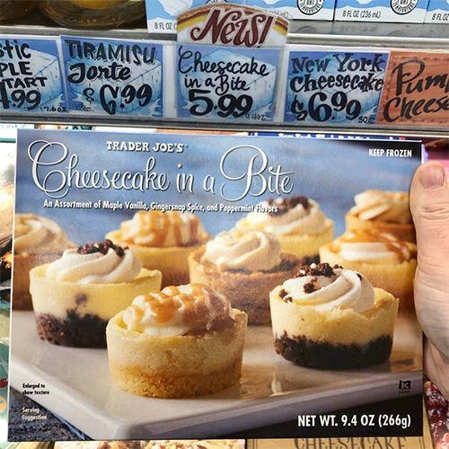 """<p>Trader Joe's is making your contribution to any celebration easy and delicious with its new Cheesecake in a Bite. The frozen box consists of Maple Vanilla, Gingersnap Spice, and Peppermint cheesecake bites. <a href=""""https://www.instagram.com/p/B4YXcqtJKZe/"""" rel=""""nofollow noopener"""" target=""""_blank"""" data-ylk=""""slk:One pack is $5.99"""" class=""""link rapid-noclick-resp"""">One pack is $5.99</a> and has 12 bites, so let the party begin!</p>"""