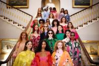 Models pose wearing creations from the Bora Aksu Spring/Summer 2022 catwalk show at London Fashion Week in London