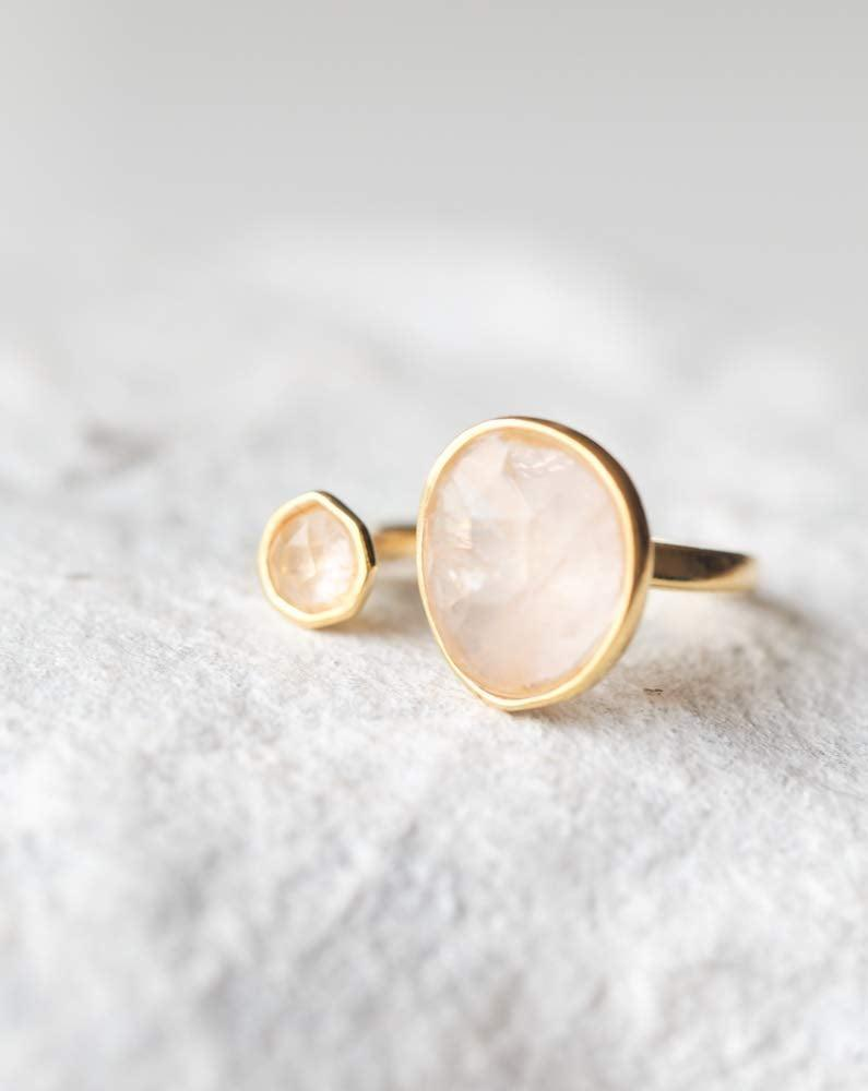 <p>The <span>MJLuLu Double Stone Simulated Rose Quartz Open Circle Light Pink Ring</span> ($23) is a gorgeous ring that makes a statement on your hand.</p>