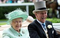 <p>The Queen and Prince Philip share another laugh as they arrive by carriage on Ladies Day of Royal Ascot 2012.<br></p>