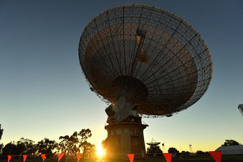 The CSIRO Parkes Observatory satellite dish is pictured.