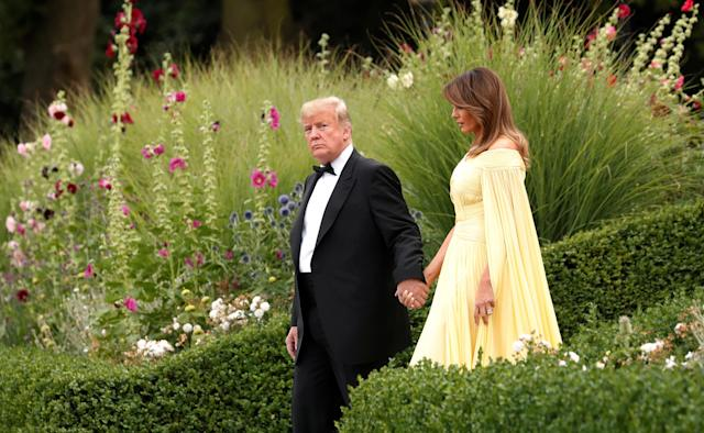 <p>President Donald Trump and the first lady Melania Trump leave the U.S. ambassador's residence, Winfield House, on their way to Blenheim Palace for dinner with Britain's Prime Minister Theresa May and business leaders, in London, Britain, July 12, 2018. (Photo: Kevin Lamarque/Reuters) </p>