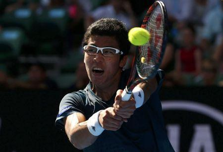 FILE PHOTO - South Korea's Hyeon Chung hits a shot during his first round match against Serbia's Novak Djokovic at the Australian Open tennis tournament at Melbourne Park, Australia, January 18, 2016. REUTERS/Jason Reed Picture Supplied by Action Images