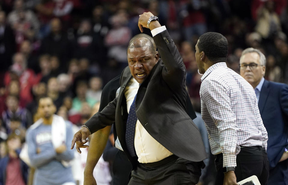 Austin Rivers encouraged officials to eject his dad Doc Rivers during a late-game meltdown. (AP Photo/David J. Phillip)