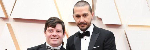 Zack Gottsagen and Shia LaBeouf on the red carpet at the Oscars