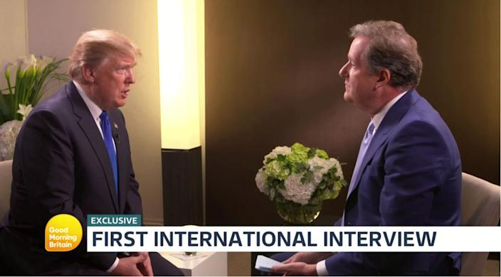"""<p>While Piers Morgan often disagrees with Trump on a number issues, the GMB presenter is known for being a fan and friend of his. Morgan was <a rel=""""nofollow"""" href=""""https://uk.news.yahoo.com/piers-morgan-slams-homophobic-cartoon-bbc-aired-depicting-donald-trump-162841989.html"""" data-ylk=""""slk:mocked when he recently interviewed Trump;outcm:mb_qualified_link;_E:mb_qualified_link;ct:story;"""" class=""""link rapid-noclick-resp yahoo-link"""">mocked when he recently interviewed Trump</a> after going too easy on him. (ITV) </p>"""