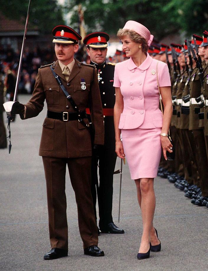 <p>A matching pink skirt suit and hat on Princess Diana paid a subtle homage to another famously stylish woman—Jackie Kennedy. </p>