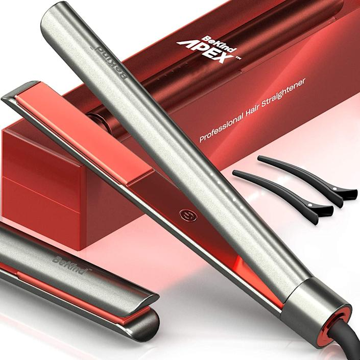 <p>The <span>Bekind Apex 2-in-1 Hair Straightener</span> ($37) will let you straighten and curl all in one tool. It has a fast heating time of 15 seconds and has adjustable temperature settings. The temperature memory function enables auto heat up to the exact temperature at which you used the BeKind Apex last time.</p>
