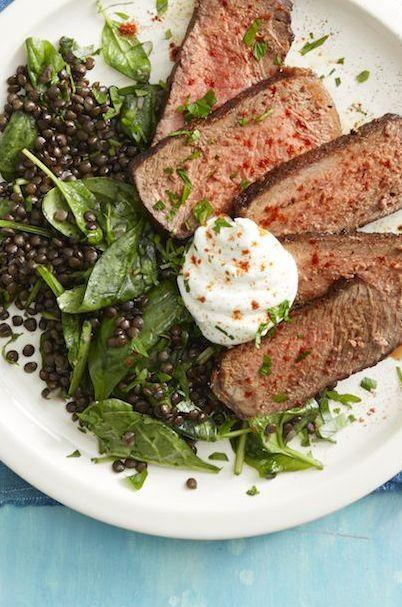 "<p>This delicious steak recipe is quick and easy. Serve it with a side of wilted spinach and lentils. Add a dollop of yogurt if you're feeling fancy. </p><p><a href=""https://www.womansday.com/food-recipes/food-drinks/a25628426/smoked-paprika-steak-and-lentils-with-spinach-recipe/"" target=""_blank""></a><em><a href=""https://www.womansday.com/food-recipes/food-drinks/a25628426/smoked-paprika-steak-and-lentils-with-spinach-recipe/"" target=""_blank"">Get the Smoked Paprika Steak and Lentils with Spinach recipe. </a></em></p>"