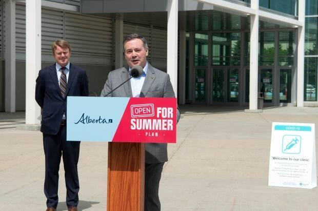 Alberta Premier Jason Kenney said Monday to expect more prizes as he unveiled details of the province's $3-million vaccine lottery. On Wednesday, the government announced it would add 40 travel prizes provided by Air Canada and WestJet.  (Chris Schwarz/Government of Alberta - image credit)